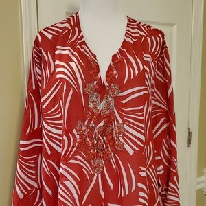Womens red and white blouse